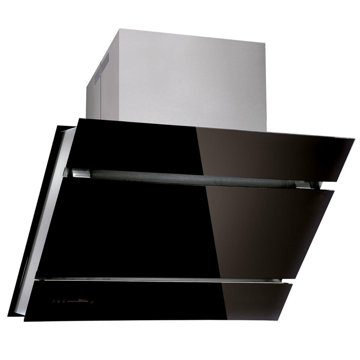 myappliances ref10205 90cm designer black angled glass. Black Bedroom Furniture Sets. Home Design Ideas