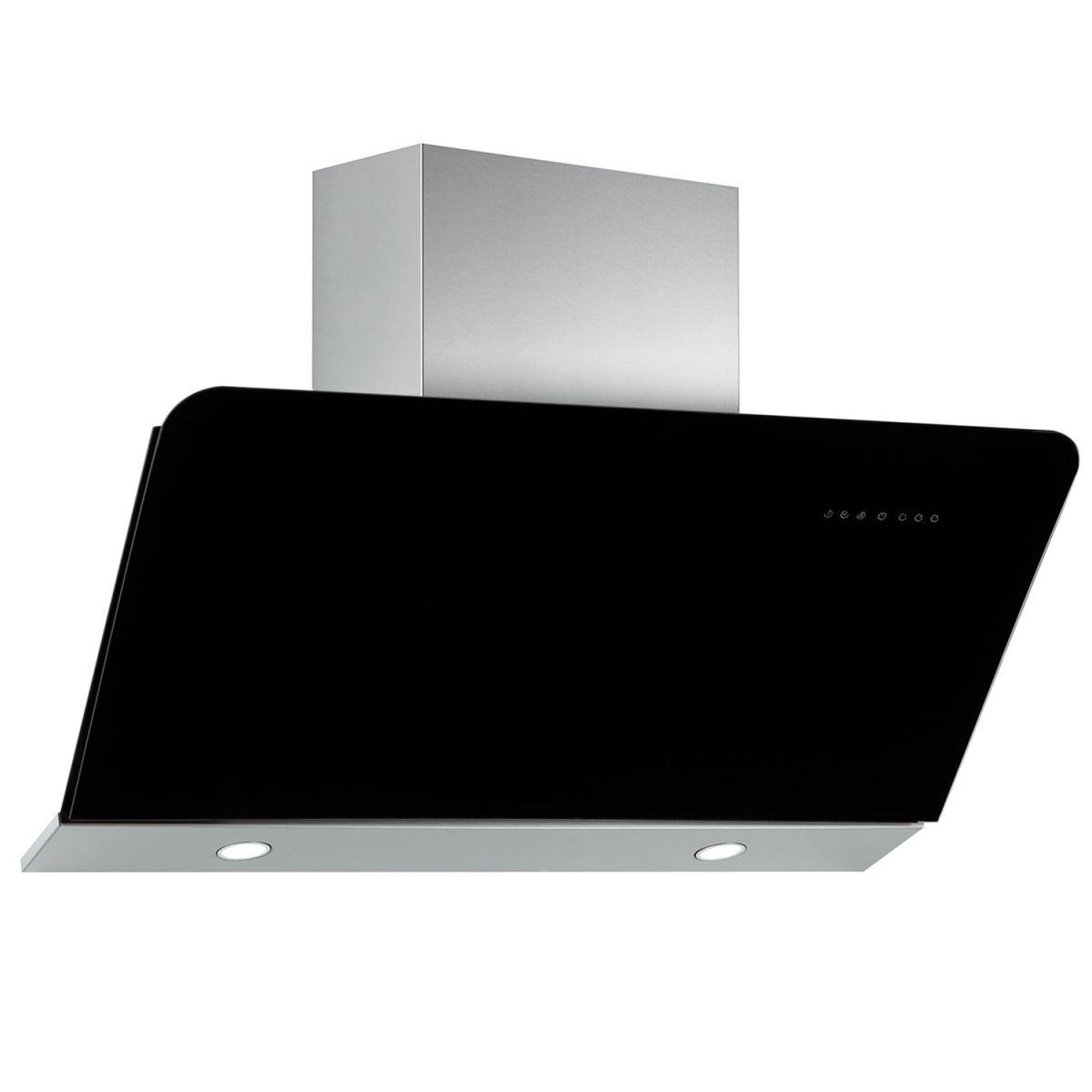 myappliances ref10203 90cm designer black angled glass. Black Bedroom Furniture Sets. Home Design Ideas