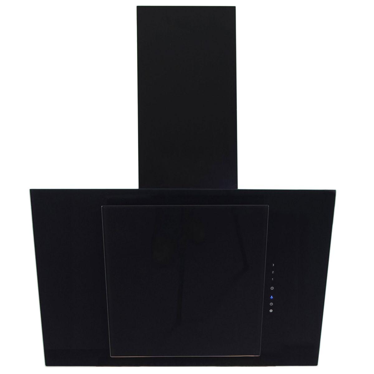 myappliances art28204 70cm black angled glass chimney. Black Bedroom Furniture Sets. Home Design Ideas
