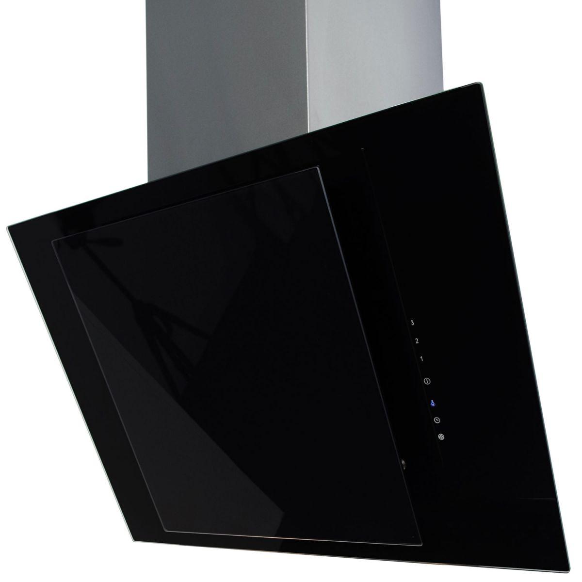 myappliances ref28314 60cm angled black glass chimney. Black Bedroom Furniture Sets. Home Design Ideas
