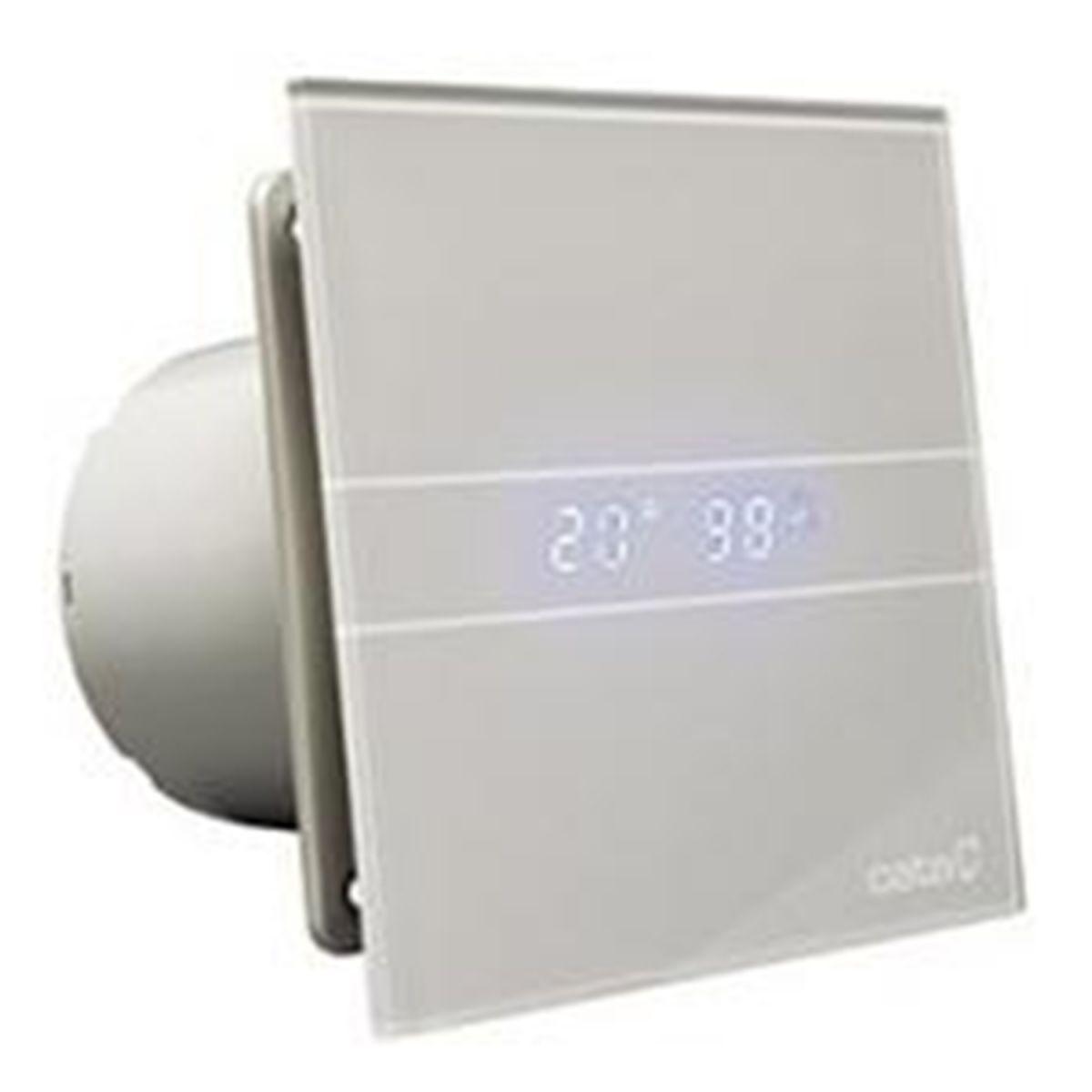 Culina 100mm Grey Glass Bathroom Extractor Fan Ventilator With LED Humidistat